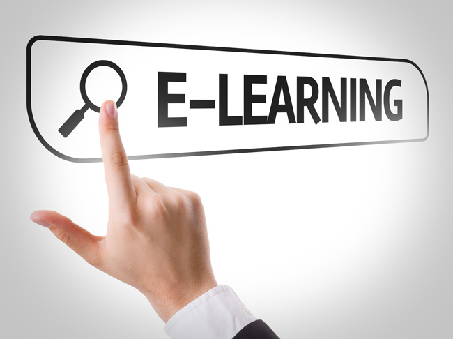 E-Learning written in search bar on virtual screen